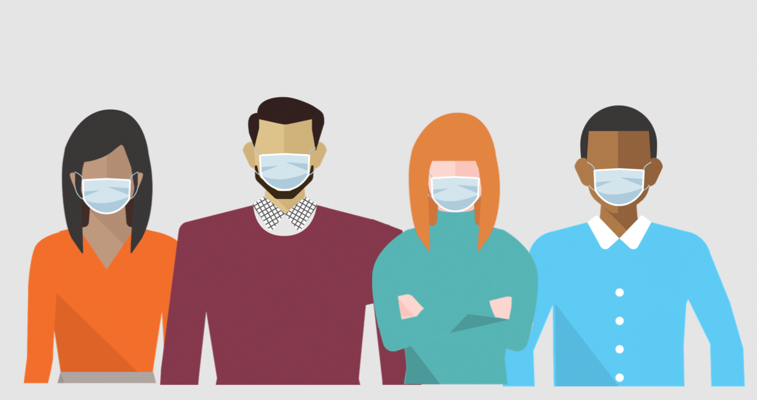 Employees wearing a face mask